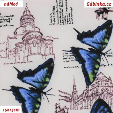 Viskóza tkanina - Motýli a města na přírodní bílé, 15x15 cm