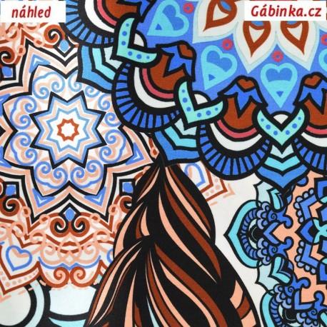 Viskóza s EL - Mandaly s květy na jeans, detail