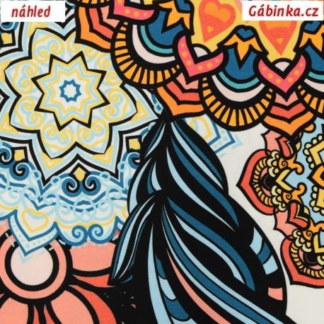 Viskóza s EL - Mandaly s květy na šedé, detail
