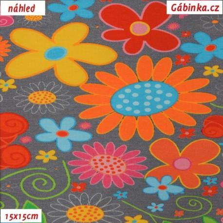 Úplet s EL - Velké barevné květy na šedé, 15x15 cm