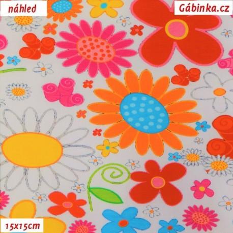 Úplet s EL - Velké barevné květy na bílé, 15x15 cm