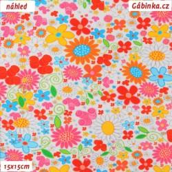 Úplet s EL - Malé barevné květy na bílé, 15x15 cm