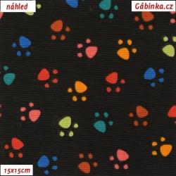 Režné plátno - Barevné ťapky na černé, šíře 140 cm, 10 cm