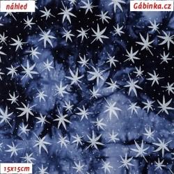 Viskóza tkanina - Hvězdičky na temně modré batice, 15x15 cm