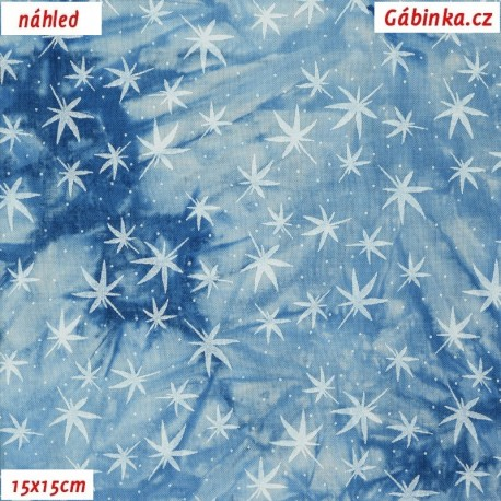 Viskóza tkanina - Hvězdičky na světle modré batice, 15x15 cm