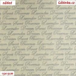 Plátno - Nápisy k levandulím na světlé, šíře 140 cm, 10 cm