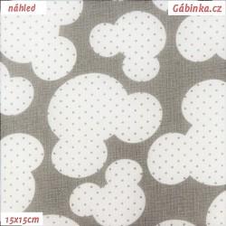 Zbytek, Plátno - Hlavy myšek s puntíky na světle šedé, šíře 160 cm, 35 cm