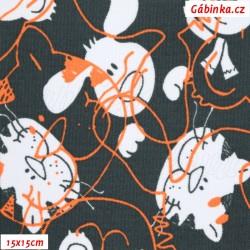 Kočárkovina MAT, Hlavy pejska a kočičky oranžové na tmavě šedé, šíře 160 cm, 10 cm, Atest 1