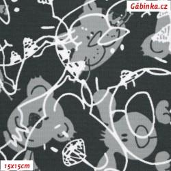 Kočárkovina MAT, Hlavy pejska a kočičky šedé na tmavě šedé, šíře 160 cm, 10 cm, Atest 1