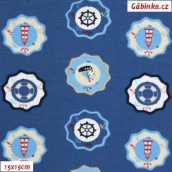 Úplet s EL - Barevné majáky a lodičky na modré, 15x15 cm