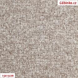 Plátno - Hnědý melír, Atest 1, 15x15 cm