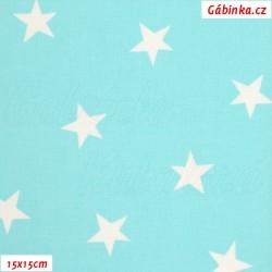 Plátno - Kolekce mentolová, Nerovnoměrné hvězdy, Atest 1, šíře 150 cm, 10 cm