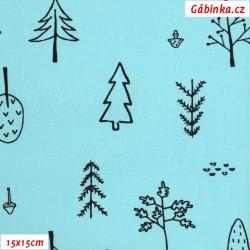Plátno - Kolekce mentolová, Stromy k vybarvení, Atest 1, šíře 150 cm, 10 cm