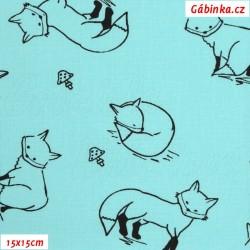 Plátno - Kolekce mentolová, Lišky k vybarvení, Atest 1, šíře 150 cm, 10 cm