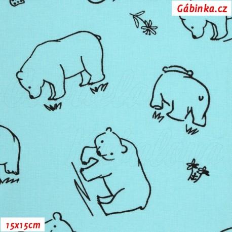 Plátno - Kolekce mentolová, Medvědi k vybarvení, Atest 1, 15x15 cm