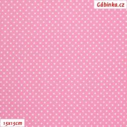 Plátno - Kolekce růžová, Mini puntíky, Atest 1, šíře 150 cm, 10 cm