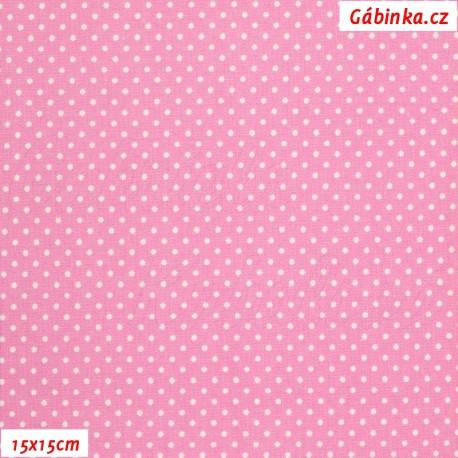 Plátno - Kolekce růžová, Mini puntíky, Atest 1, 15x15 cm
