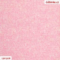 Plátno - Růžový melír, Atest 1, 15x15 cm