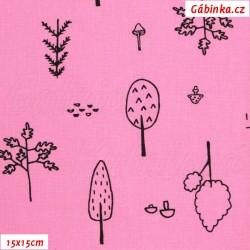 Plátno - Kolekce růžová, Stromy k vybarvení, Atest 1, 15x15 cm