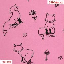 Plátno - Kolekce růžová, Lišky k vybarvení, Atest 1, šíře 150 cm, 10 cm