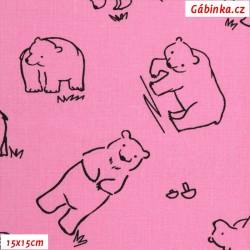 Plátno - Kolekce růžová, Medvědi k vybarvení, Atest 1, šíře 150 cm, 10 cm