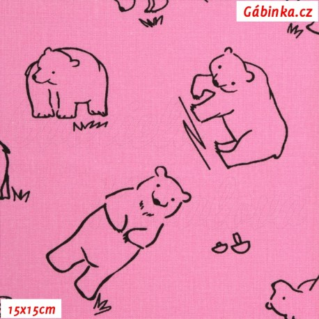 Plátno - Kolekce růžová, Medvědi k vybarvení, Atest 1, 15x15 cm