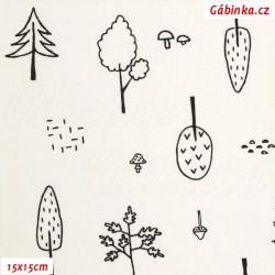 Plátno - Stromy k vybarvení na bílé, Atest 1, šíře 150 cm, 10 cm