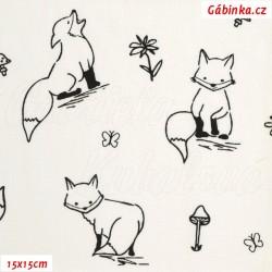 E - Plátno - Lišky k vybarvení na bílé, Atest 1, šíře 150 cm, 10 cm