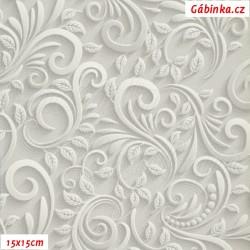 Koženka, Ornamenty na světle šedé, DSOFT 08, šíře 140 cm, 10 cm