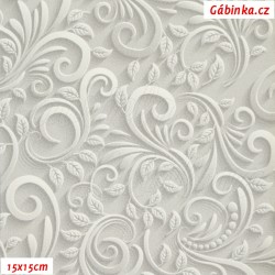 Koženka DSOFT 008 - Ornamenty na světle šedé, šíře 135 cm, 10 cm