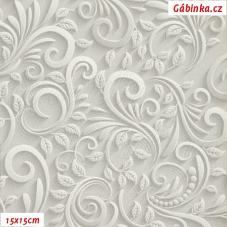 Koženka, Ornamenty na světle šedé, DSOFT 08, 15x15 cm