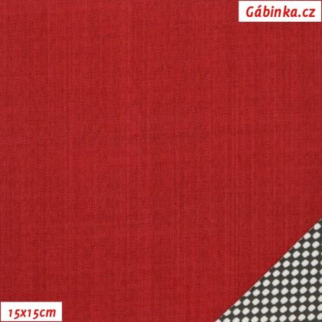 Látka letní softshell s úpletem - červený, 15x15 cm
