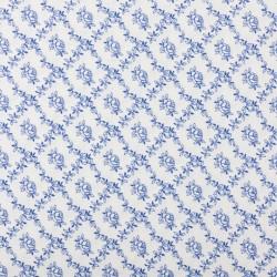 Plátno - Kolekce modrotisk - Růžičky v káru na bílé, šíře 150 cm, 10 cm