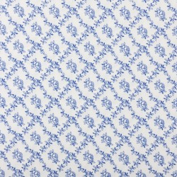 Plátno - Kolekce modrotisk - Růžičky v káru na bílé