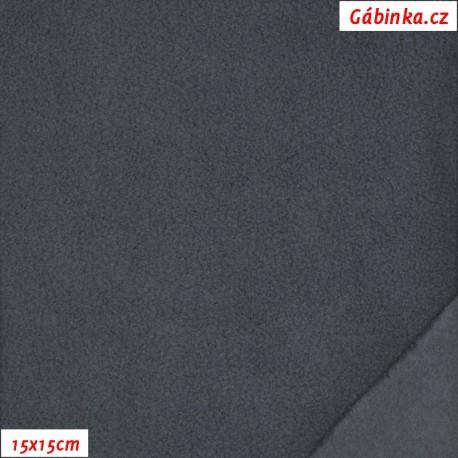 Látka micro fleece antipilling - FLEECE 138, Tmavě šedý, 15x15 cm