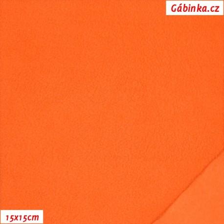 Látka micro fleece - oranžová, 15x15 cm