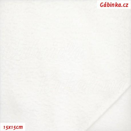 Látka micro fleece - bílá, 15x15 cm