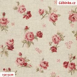 Režné plátno - Růžičky, 15x15 cm