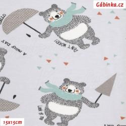 Úplet s EL - Medvídci v dešti, Atest 1, šíře 160 cm, 10 cm