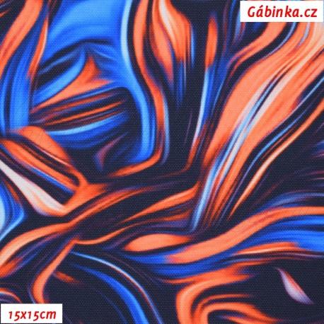Kočárkovina Premium, Abstraktní malba oranžovomodrá, 15x15 cm