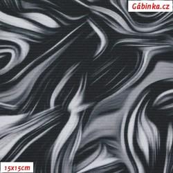 Kočárkovina Premium, Abstraktní malba černobílá, šíře 155 cm, 10 cm