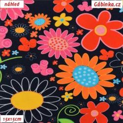 Úplet s EL - Velké barevné květy na tmavě modré, šíře 150 cm, 10 cm