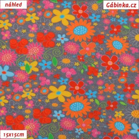 Úplet s EL - Malé barevné květy na šedé, náhled 15x15 cm