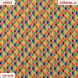 Plátno - MINI barevné trojúhelníky, šíře 140 cm, 10 cm