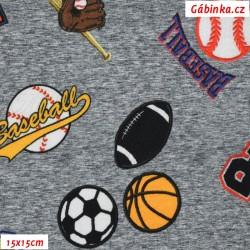 Úplet s EL Digitální tisk - Baseball, fotbal, basketbal na šedé, ATEST 2, šíře 160 cm, 10 cm
