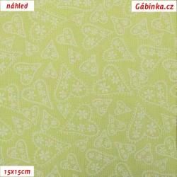 Plátno - Bílá srdíčka na světle zelené, šíře 140 cm, 10 cm