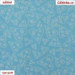 Plátno - Bílá srdíčka na světle modré, šíře 140 cm, 10 cm