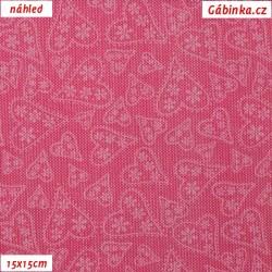 Plátno - Bílá srdíčka na růžové, šíře 140 cm, 10 cm