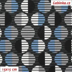 Zbytek - úplet s EL - Kolekce N1, Proužkovaná kolečka modrá bílá šedá černá na černé, šíře 150 cm, 10 cm