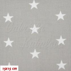 Zbytek - Plátno, Hvězdičky 22 mm bílé na světle šedé II. jakost, šíře 160 cm, 1,2 m
